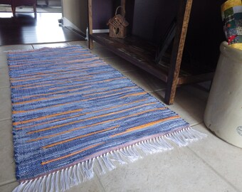 """Hand Crafted Orange and Denim Rag Rug 25"""" x 55""""  Denim just goes with everything"""