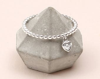 Sterling Silver Crystal Heart Charm Ring (HBR08)