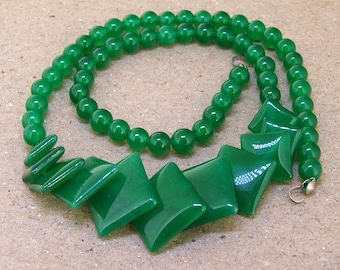 """Full Strand Diamond  Green Jade Beads ----- 6mm-20mm ----- about 60Pieces ----- gemstone beads--- 15"""" in length"""