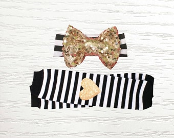 Black and White Stripe Leg Warmers with Gold Glitter Heart Vinyl Knee Patches and Matching Gold Micro Sequin Bow Headband