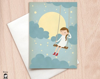 Moonlight Swing - Girl - Greeting Card