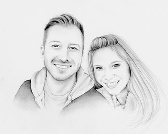 Wedding Portrait Memento Personalized Wedding Portrait for Couples Hand Drawn One of a Kind Gift for Couples Wedding Present Custom Portrait