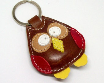 Violetta the cute little brown owl Handmade Leather Keychain - FREE Shipping Worldwide - Handmade Leather Owl Bag Charm - Owl Lover Gift