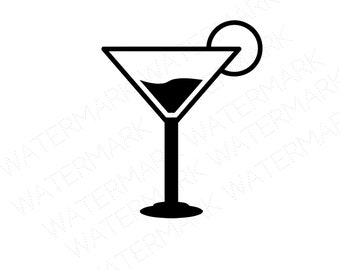Martini SVG & Studio 3 Cut File Stencil Decal Files Logo for Silhouette Cricut SVGs Cutout Cutouts Stencil Glass Cocktail