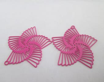 10 spiral flower prints pink metal 22 mm