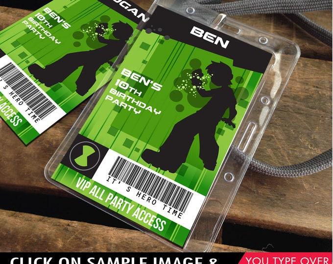 Ben 10 ID Badges -  Party Badge, Ben 10 Birthday Party Favor, Party Tag, Self-Editing | D.I.Y. Editable Text INSTANT DOWNLOAD Printable