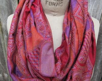 Pink Orange infinity scarf Paisley Pashmina cowl soft Preppy Loop Warm Winter Boho Chic Muffler Cozy Neck Warmer colorful Accessory Gift