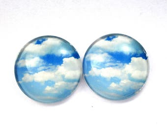 Set of 2 cabochon dome glass 25 mm - clouds