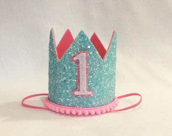 Bubble Gum Birthday Crown, Cotton Candy Birthday Crown, Girls First Birthday Crown, Glitter Birthday Crown, Pink Birthday Crown,