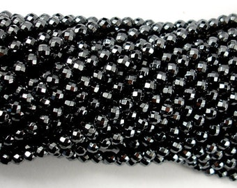 Hematite, 4mm Faceted Round Beads, 15.5 Inch, Full strand, Approx 100 beads, Hole 0.8 mm (269025005)