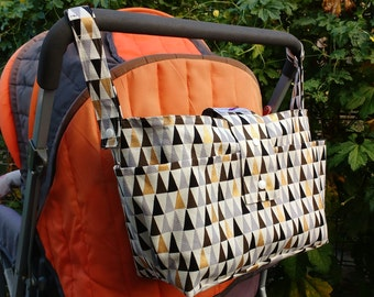 new mother gift -wheelchair bag organiser- stylish pram caddy - stroller organiser - pram bag - pram organiser- golden multicolour triangles