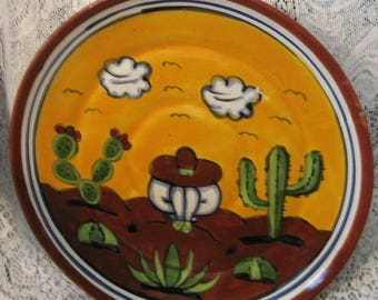 Vintage Mexican Plate Yellow Brown White Green Gray Black & Blue Hand Made Handpainted Pottery Sombrero Cacti Clouds Design Shelf Display
