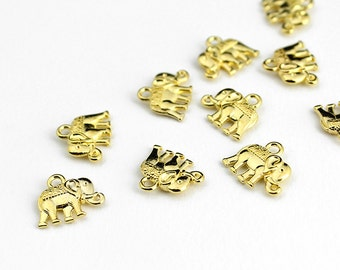 Small Gold Elephant Charms - 10 Pieces