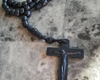 Beaded knotted Paracord Rosary