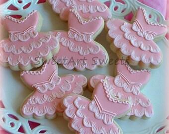 Ballet cookies - 1 dozen tutu cookies - decorated cookie favors - ballerina cookies - dancer cookies