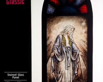Stained Glass Panel, Miniature Window, hand painted, Our Lady, LEADED, Ref: Mem-Panel