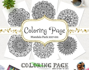SALE Adult Coloring Page Doodle Mandala Printable Coloring Book Adult AntiStress Art Therapy Instant Download Coloring Pages Printable Art