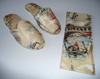 Vintage Travel slippers, hotel, home, bedroom, spa vintage