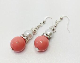 Coral Drop Earrings Set of 5 Pearl Wedding Gift Beaded Dangle Earrings Coral Bridesmaid Set Summer Wedding White Pearl Sparkle Jewellery
