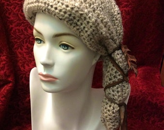 Sandy Oak Cloche Crocheted Slouch Hat... knit yarn tied soft scarf cap bohemian boho