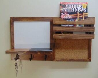 Dry Erase Message Center - Cork Board - Magazine Holder - Entryway Décor - Message Center