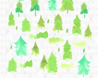 Watercolor Pine Trees, Fir Trees, Evergreen Trees, Watercolor Trees, Christmas Trees, Watercolor Clipart, Decal for Shops, Commercial Use