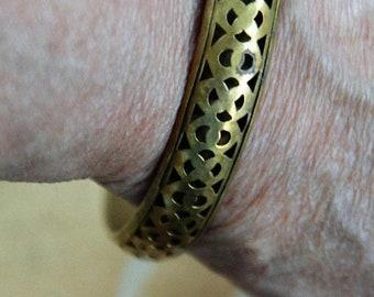 On sale Brass Filigree Bangle Bracelet, Vintage
