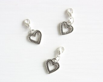 Silver heart planner charm