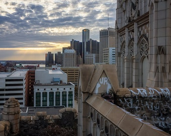 Lustre Print: Detroit Skyline From Roof of Abandoned Building