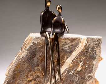 Sacred Trust  |  This finely-polished bronze sculpture of soul mates makes a distinctive 8th anniversary gift.