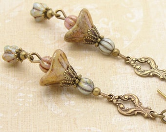 Long Boho Earrings with Rustic Flower Dangles in Aged Pink Tan and Blue Green Glass
