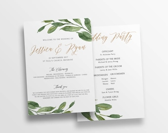 Greenery Ceremony program, wedding program program template DIY editable wedding ceremony printable program TEMPLETT instant download HANNAH