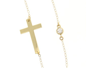 14K Gold Sideways Cross Necklace With CZ, Cubic Zirconia - Yellow Or White Gold