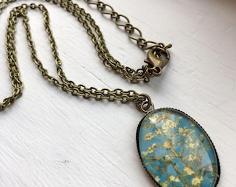 Antique Brass Necklace with Van Gogh Branches Resin Pendant