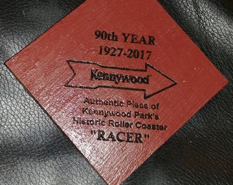 """Roller Coaster Wood Christmas Ornament, made from pieces of Kennywood Park's """"Racer"""", 90th Year Edition"""