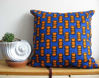 Living Room Decor, Blue and Orange Pillows, Living Room Pillows, African Print Pillow, Dorm room decor, Cushion Cover, New Home Gift