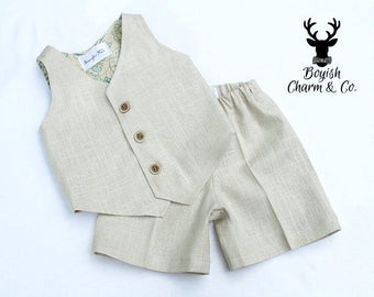 The Avery Boys Linen Suit, Ring Bearer Outfit, Page Boy Outfit, First Birthday Outfit, Baptism Outfit Boy, Ring Bearer Suit, Boys Brown Suit