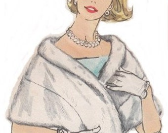 Vintage Sewing Pattern 1950s Ladies Fur Stole Shawl Wedding Wrap Size 12 Reproduction PRINTED COPY