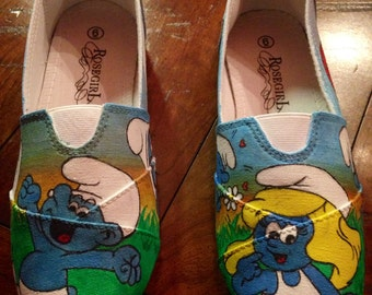 Smurf hand-painted shoes