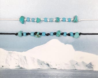 The 'Hunters' Anklet // Turquoise Gemstone Chip Beads, Adjustable Black or White Cord with Seed Beads