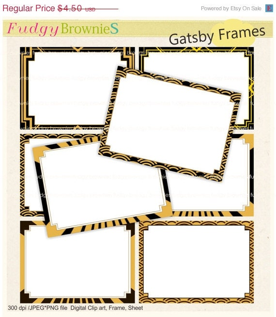 ON SALE Digital frame Gatsby style Square Frames clipart