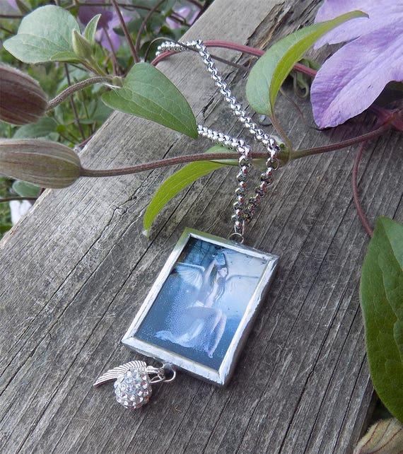 stainless steel framed fantasy angel art necklace