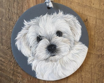 Custom Dog Ornament - Dog Christmas Ornament - Custom Pet Ornament - Hand Painted Dog Ornament - Personalized Pet Portrait - Dog Lover Gift