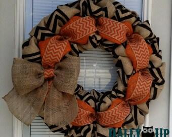 Fall Burlap Wreath - Autumn  Burlap wreath,Orange,  Halloween Wreath - Orange Natural and Black Wreath - Fall Wreath - Door Wreath