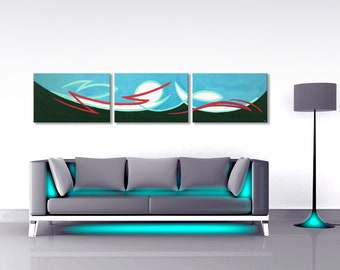 "Large 3-Piece Acrylic Painting Canvas on Stretcher Frame ""Reef"" Blue-Green Turquoise Red Dark Green"