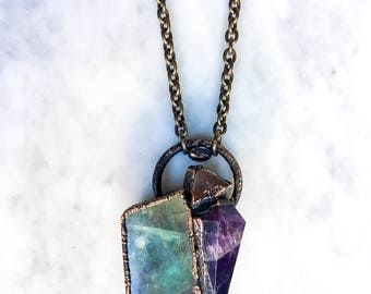 Crystal Cluster Necklace, Fluorite, Chevron Amethyst, Arkansas Quartz, Labradorite