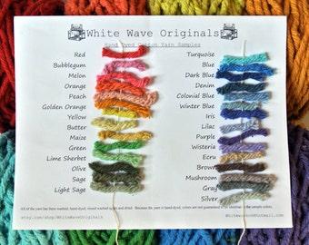 Hand dyed cotton Rug Yarn sample card