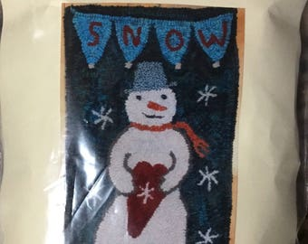 Rug Hooking pattern by Red Barn Rugs on linen - I Love Snow