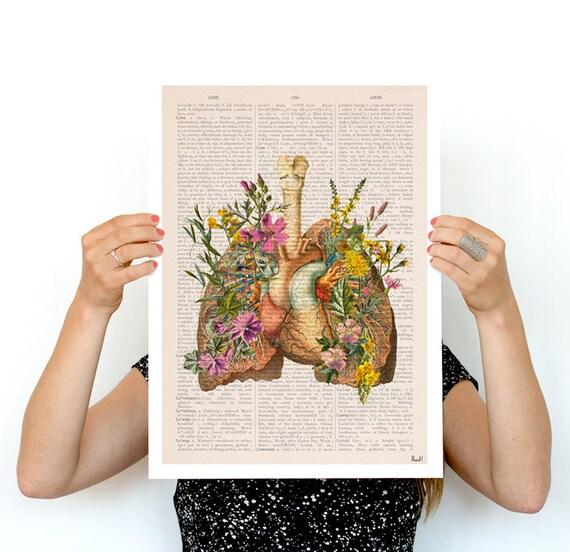 Flowery lungs Poster, ,anatomical art, Stop smoking art, r, Wall art, flower art,No smoking Flower poster wall art, SKA099PA3