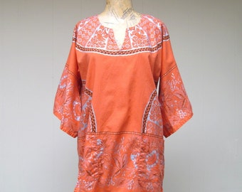Vintage 1960s Dashiki / 60s Orange Cotton Print Boho Exotica Festival Tunic Top / Medium